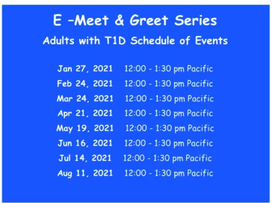 E-Meet & Greets for Adults Living with T1D